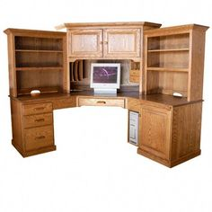 Home Office Furniture: Choosing The Right Computer Desk Corner Desk With Hutch, Computer Desk With Shelves, Computer Desks For Home, Bookshelf Desk, Home Desk, Desk Hutch, Corner Unit, Book Shelves, Classic Office Furniture