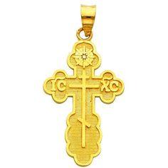 14K Yellow Gold St. Olga Greek Orthodox Baptismal Cross Charm Pendant GoldenMine. $117.00. Save 47% Off!