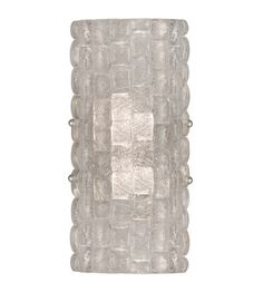Sconce with individually cast glass pillow-shaped pieces fused at high temperature in a hand-laid cobblestone pattern of individual lenses creating a fascinating light diffuser and sculptural form. Exposed metal in hand-applied silver leaf finish.