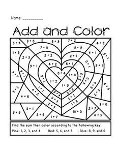 Math coloring pages 3rd grade add ten valentine math for Maestra sandra pasqua