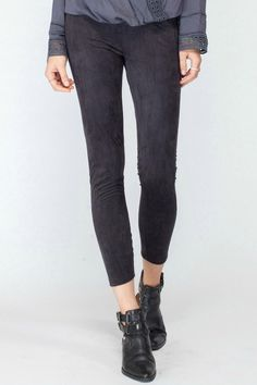 Ankle length stretch suede crop leggings    Model is wearing a size Small Decklan Legging by Gentle Fawn. Clothing - Bottoms - Pants & Leggings - Leggings Canada