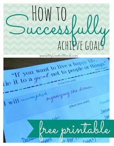 Free printable to help you achieve your goals