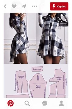 Ideas For Sewing Clothes Vintage Shirts Sewing Dress, Dress Sewing Patterns, Diy Dress, Sewing Patterns Free, Sewing Clothes, Clothing Patterns, Pattern Sewing, Shirt Dress, Fabric Patterns