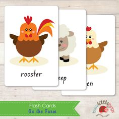 On the Farm set of 24 flash cards for early literacy