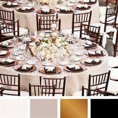 White, Beige, Gold, Black Color Palette