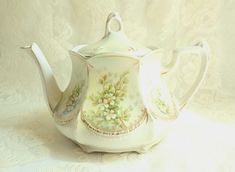 Antique RS Prussia Floral Porcelain Teapot  Red Mark  Satin Finish