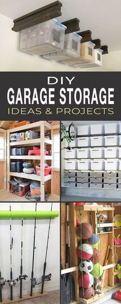Organize Your Garage! With these garage storage tips, it becoems a mich easier job. So let's give these DIY garage storage ideas a try! Garage Storage Solutions, Diy Garage Storage, Toilet Storage, Garage Shelf, Garage Organization, Organization Ideas, Garage Workbench, Garage Shelving, Wood Storage