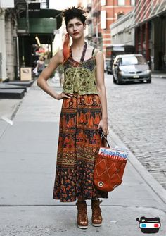 Online Fashion Design Style Trends Boho Chic Clothing Peasant Dress Top & Tote Bag 2009 2010 Picture