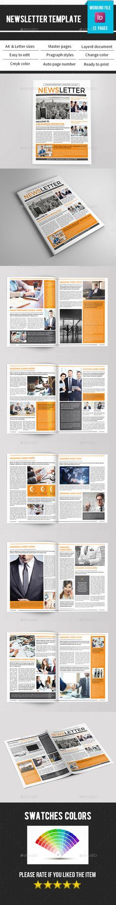 Business Newsletter Design Template V11 - Newsletters Print Template InDesign INDD. Download here: https://graphicriver.net/item/business-newsletterv11/17026414?s_rank=176&ref=yinkira