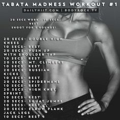 It's Tabata week! What does that mean? For the next 5 days you will have a different Tabata style workout to perform on each day, shooting for 3x through.