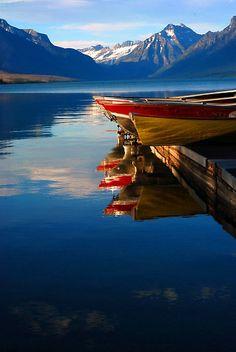 Glacier, Montana, lake, boat