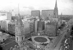 An aerial photo of City Square in Melbourne,Victoria in 1970.The square has been demolished to allow for the construction of Town Hall Railway Station.