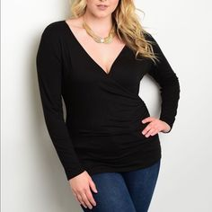 JUST IN Adorable Faux Wrap Top This faux wrap top is nice and comfortable and stylish at the same time. Long sleeve, fitted. 100% polyester. Perfect with jeans or a midi skirt.   I have Plus sizes 1x, 2x, and 3x. PLEASE DO NOT PURCHASE THIS LISTING. TAG ME WITH YOUR SIZE AND I WILL CREATE ONE FOR YOU. Measurements are Bust, Waist, and Hip. Zenobia Tops