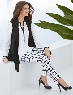 Reality Checks: Opt for easy layers—a tipped tunic and drapey vest—atop a pair of slim checkered pants. #DestinationFabulous #spring #BlackLabel #chicos