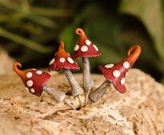 4 Red Miniature Fairy Garden Accessories Mushroom, Fairies House, Polymer Clay Toadstool Decor, Terrarium Accessory, Fantasy Plant Garden