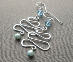 Handmade Blue and Silver Christmas Tree Earrings by dianedesign, $25.00