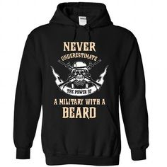 MILITARY With A Beard T Shirts, Hoodies. Get it here ==► https://www.sunfrog.com/Faith/MILITARY-With-A-Beard-6155-Black-28616307-Hoodie.html?41382