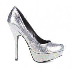 "Round toe platform pump in iridescent metallic materials.     Platform Description: 1""      Material: Faux Lizard      Heel Height: 5""      Fit: True to size"