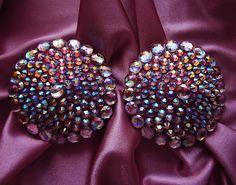 New sparkly design in my collection: Crown Jewel Burlesque Pasties Pink Nipple Covers adorned with AB rhinestones @  http://etsy.me/YEJl41 #handmadepasties #sexygift #eroticlingerie #nipplecovers #reusablepasties #burlesquepasties #cabaretdancer