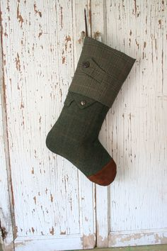 British Green Tweed Christmas Stocking with by SmokinTweed on Etsy