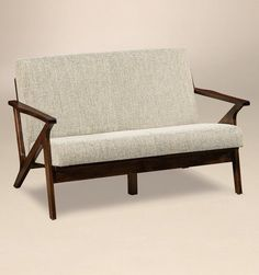 Amish Malaya Mid Century Modern Loveseat Ultra cool modern loveseat. The Malaya is custom made with your choice of wood, stain and upholstery. 9 wood options to pick from. Available with premium fabric, stain resistant Crypton, faux or genuine leather. Shown here in brown maple wood, earthtone stain and normal fabric. Amish made in America. #midcenturymodern #livingroom #loveseats Building Furniture, Amish Furniture, Furniture Making, Mid Century Modern Loveseat, Mid Century Modern Furniture, Crypton Fabric, Quarter Sawn White Oak, Arts And Crafts Furniture, Living Room Seating