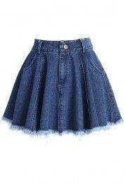 Tassel Trim Denim Mini Skirt in Blue