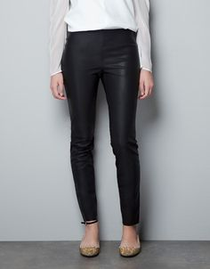 waiting for my size to pop up....dang. RUBBERISED LEATHER EFFECT LEGGINGS - Trousers - Woman - New collection - ZARA