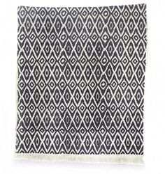 Table Runner - Black New Ikat, handspun, handwoven and hand block-printed cotton fabric. From JOYN. $40.00