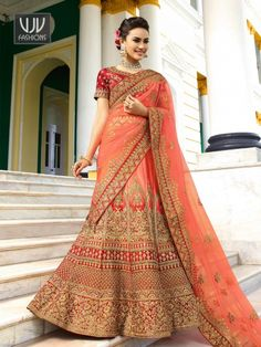 Waving Red And Pink Color Shaded Lehenga Choli Shop For lehenga choli with customizable blouse Online in India at VJV Fashions Available in Exciting Design Simple Lehenga Choli, Pink Lehenga, Bridal Lehenga Choli, Bridal Lenghas, Indian Wedding Lehenga, Indian Lehenga, Indian Wedding Outfits, Indian Weddings, Bridal Outfits