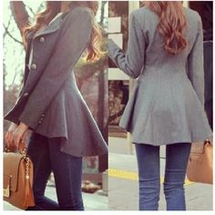 Fall Work Outfit With Grey Peplum Coat