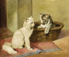 Hungarian 19th/20th century oil painting of kittens in a basket by Gabrielle Rainer Istvanffy. Sold for $881 (Sale 2249, Lot 635)
