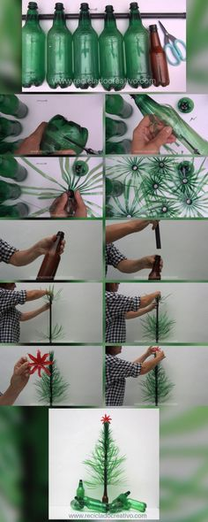Paso a paso. Cómo hacer un árbol de Navidad con botellas de plástico - RECICLADO CREATIVO por Rosa Montesa Plant Hanger, Macrame, Merry Christmas, Diy, Plants, Home Decor, Ideas, Environment, Pink