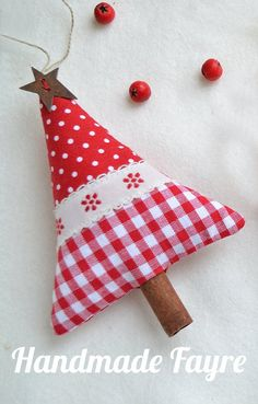 2 Cinnamon Red Fabric Christmas Trees & 1 Heart by handmadefayre Christmas Makes, Noel Christmas, Winter Christmas, Handmade Christmas, Fabric Ornaments, Xmas Ornaments, Christmas Decorations, Christmas Projects, Holiday Crafts