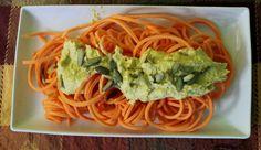 Pumpkin Alfredo with spiral sweet potato noodles | In Johnna's Kitchen