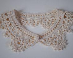 Crochet Lacelike Shirt Collar Ecru White Cotton Fashion Handmade.