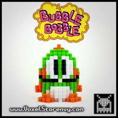 Bubble+Bobble+retro+video+game+sprites+in+the+cool+new+3d+perlerbead+art+style!+    dimensions+about+3+inches+tall+and+wide    Products+are+made+to+order+and+do+take+about+a+week+to+make+depending+on+the+order.    Please+Like+Voxel+on+Facebook!  http://facebook.com/voxelperlers    (These+products...