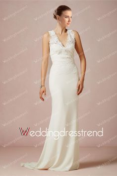[$218.00] Delicate Appliqued Draped V-neck Sheath Lace Wedding Dress