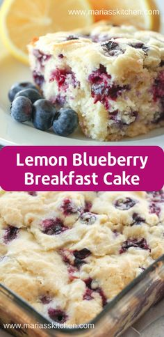 Lemon Blueberry Breakfast Cake Recipe easy 3 ingredients easy for a crowd easy healthy easy party easy quick easy simple Blueberry Bread, Lemon Blueberry Cakes, Blueberry Breakfast Cakes, Blue Berry Lemon Cake, Easy Blueberry Desserts, Best Blueberry Recipe, Blueberry Cheesecake, Comfort Food, Breakfast Dishes