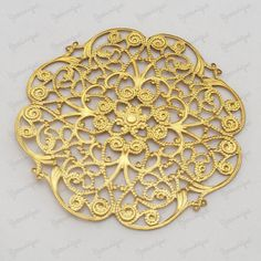 One Large Antiqued Gold Plated Metal Filigree Base Connector by yooounique on Etsy Antique Gold, Filigree, Base, Antiques, Unique Jewelry, Handmade Gifts, Metal, Creative, Stuff To Buy