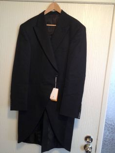 NEW Alexander Dobell Wool Black  Herringbone Tweed Button Tailcoat 46L Tux $189