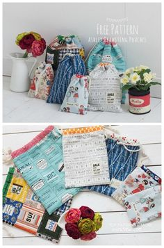 FREE sewing pattern for easy drawstring bags in three different sizes. Ideal for beginners but rewarding for everyone to sew. These DIY drawstring bags are a free sewing pattern in large, medium and small. Easy storage bags to sew for around the home or as gifts or stocking stuffers to sew. Easy gift bag sewing pattern, free. #SewModernBags #SewABag #BagSewingPattern #SewAPouch #PouchSewingPattern #SewingForFree #FreeSewingPattern