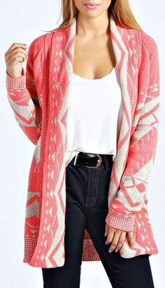 Coral Aztec Cardigan Sweater <3