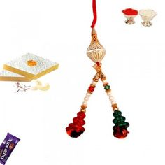 Picture of Colorful Bead Lumba Rakhi with White Pearl Buy Rakhi Online, Rakhi To India, Pearl White, Color Combinations, Bead, Colorful, Indian, Drop Earrings, Pearls