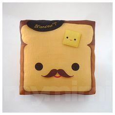 "Brown Pillow, Toast Pillow, Food Pillow, Movember, Kawaii Print, Toy Pillow, Home Office Decor, Kids Playroom Decor, Dorm Decor, 7 x 7"" on Etsy, $14.00"