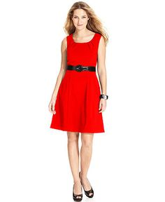 AGB Dress, Sleeveless Belted Scoop-Neck A-Line - Womens Dresses - Macy's