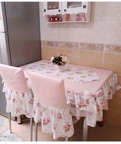 fabric crafts DIY for sale Furniture Covers, Chair Covers, Table Covers, Shabby Chic Kitchen, Shabby Chic Homes, Shabby Chic Pink, Shabby Chic Decor, Diy Home Decor, Room Decor