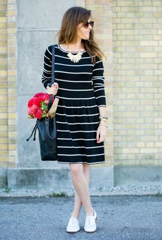 How to Style The Perfect Striped Sweater Dress. Sweater-dress, striped-sweater-dress @danagreechan
