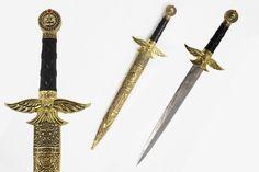 Historical Medieval Short Sword Fantasy Dagger Gold Eagle Guard Lion Pommel