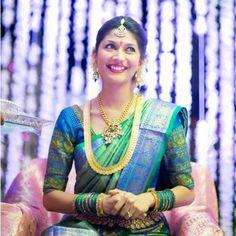 """Peacock colored kanjivaram for Telugu actor Manchu Manoj""s wife ! Photo by bk photography ' #saree #kanjivaram #southindianbrides #teluguwedding #kanchipuram #pattu"" Photo taken by @wedmegood on Instagram, pinned via the InstaPin iOS App! http://www.instapinapp.com (09/08/2015)"