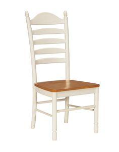 Madison Park Hardwood Ladderback Dining Chair - 2 Pack (Heritage Oak & Pearl)